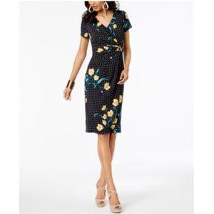 Thalia Sodi Floral-Print Wrap Dress Black